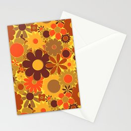 Funky Daisy Floral in Electric Orange Stationery Cards