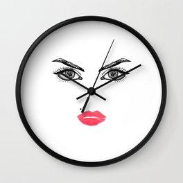 Printable Art,Makeup Face,Makeup Illustration,Lips Print,Eyelashes Print,Bathroom Decor,For Her Wall Clock