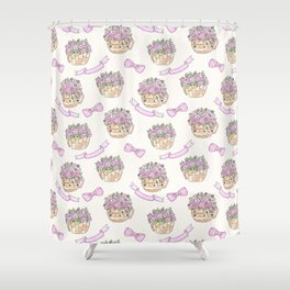Watercolor . The flowers in the basket . Shower Curtain