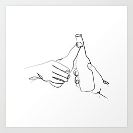 """ Kitchen Collection "" - Two Hands Holding Beer Bottles Art Print"