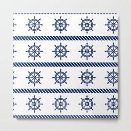 Blue Sea Rope Navy Pattern Metal Print