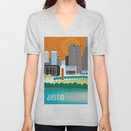 Austin, Texas - Skyline Illustration by Loose Petals Unisex V-Neck