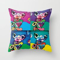 grateful dead Throw Pillows featuring Grateful Dead Bears by Chelsea Kalman Art