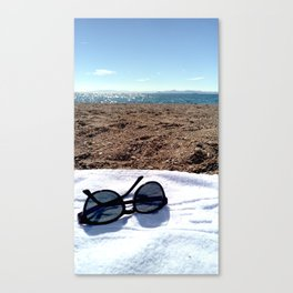 see, sun glasses, calm , beach , summer Canvas Print