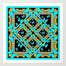 Decorative Western Style Turquoise Butterflies  Black Gold Patterns Art Print