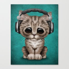 Cute Kitten Dj Wearing Headphones on Blue Canvas Print