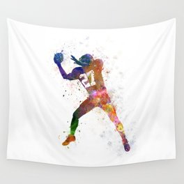 american football player man catching receiving Wall Tapestry
