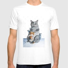 Cat family White MEDIUM Mens Fitted Tee