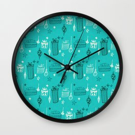 Christmas gift and ornaments Teal Wall Clock