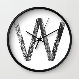 Minimal Letter W Print With Photography Background Wall Clock