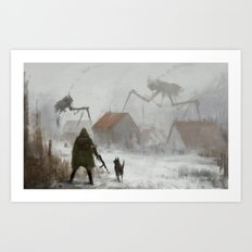 big spider on the roof Art Print