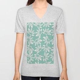 P312020 Floral Tropical Mint Unisex V-Neck