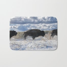Buffalo Charge. Bison Running, Ground Shaking When They Trampled Through Arsenal Wildlife Refuge Bath Mat