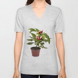 Shrub decorative pepper Kapsicum on a white background Unisex V-Neck