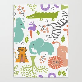 Zoo Pattern in Soft Colors Poster
