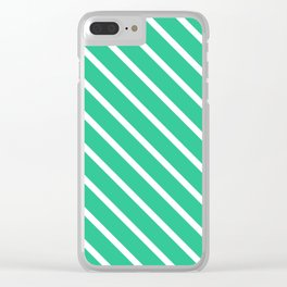 Turquoise Green Diagonal Stripes Clear iPhone Case