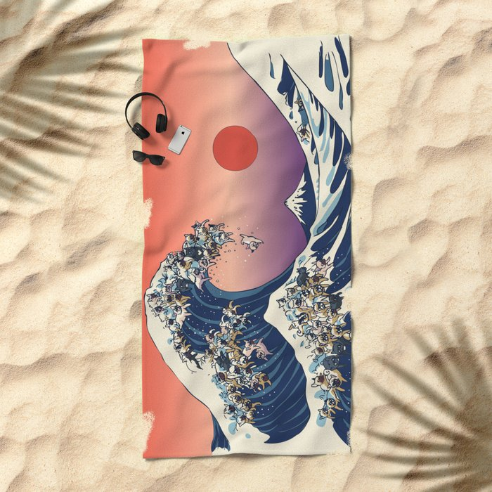 The Great Wave Of  French Bulldog Beach Towel