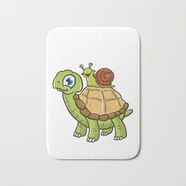 Cute & Funny Snail Riding on Turtle Yelling Wheee! Bath Mat