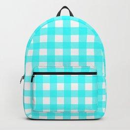 Aqua blue gingham pattern Backpack