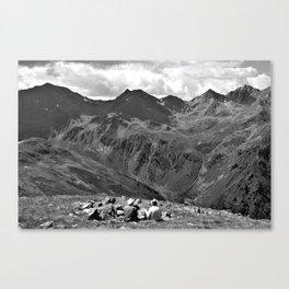 zwölferkopf hiking break view alps serfaus fiss ladis tyrol austria europe black white Canvas Print
