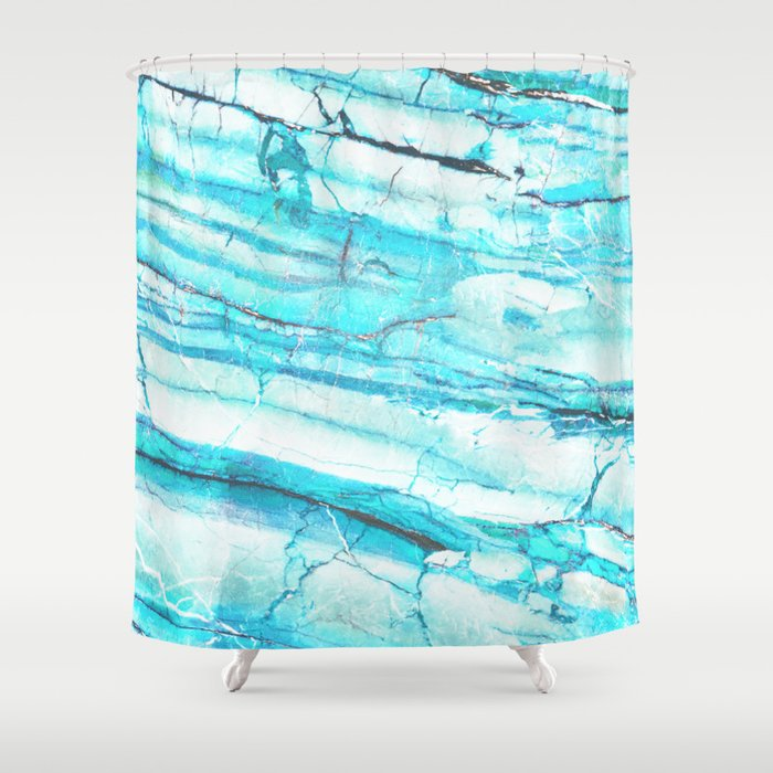 White Marble With Blue Green Veins Shower Curtain