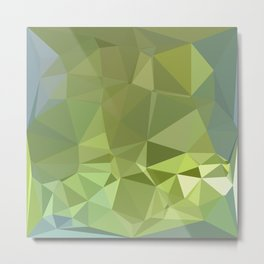 Olive Drab Abstract Low Polygon Background Metal Print