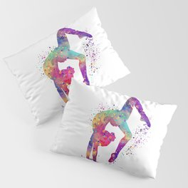 Girl Gymnastics Tumbling Watercolor Pillow Sham