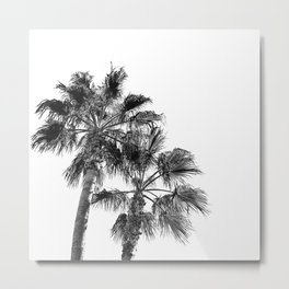 Big Sur Palms | Black and White Palm Trees California Summer Sky Beach Surfing Botanical Photography Metal Print