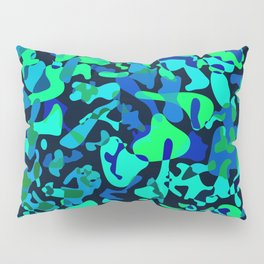 Intersecting delicate on colored spots and splashes of dark blue paints. Pillow Sham