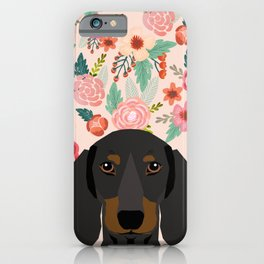 Dachshund florals cute pet gifts black and tan dachshund gifts for dog lover with weener dog iPhone Case