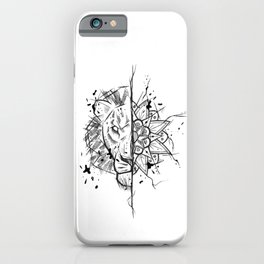 Lion Mandala Handmade Drawing, Made in pencil and ink, Tattoo Sketch, Tattoo Flash, Blackwork iPhone Case