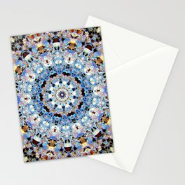 Blue Brown Folklore Texture Mandala Stationery Cards