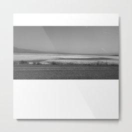 Yukon Lake (Kluane) Black and White Metal Print