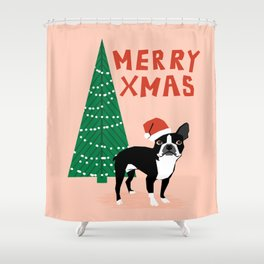 Boston Terrier Xmas - christmas tree holiday pet dog lover gift with boston terrier cute santa hat  Shower Curtain