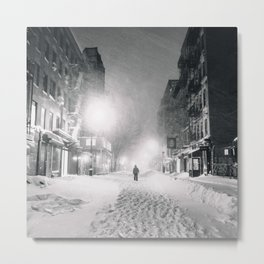 Alone in a Blizzard - New York City Metal Print