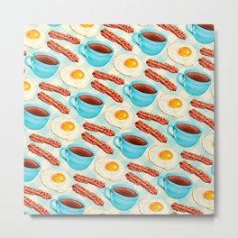 Coffee Bacon & Eggs Pattern - Blue Check Metal Print
