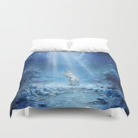 skyrim Duvet Covers featuring A wolf's tale by Liancary