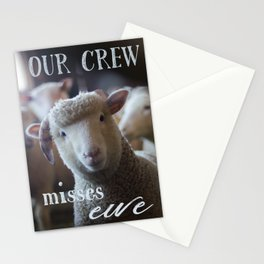 Missing You Card Photo of Sheep Our Crew Misses Ewe Stationery Cards