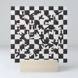 Chess Figures Pattern - Wood black and white Mini Art Print