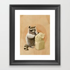 Raccoon in Pursuit of Perfection Framed Art Print