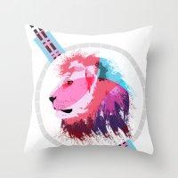 leon Throw Pillows featuring Leon neon by Süyümbike Güvenç