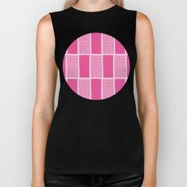 Pink sketched rectangular mesh repeat pattern vector Biker Tank