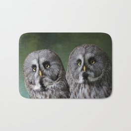 Great Grey Owls Bath Mat