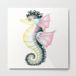 Seahorse Fantasy Watercolor Ink Art Metal Print