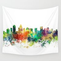 north carolina Wall Tapestries featuring Charlotte, North Carolina Skyline SP by Marlene Watson