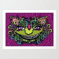 cheshire cat Art Prints featuring CHESHIRE by AZZURRO ARTS