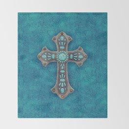 Turquoise Rustic Cross Throw Blanket