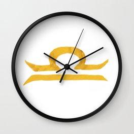 Libra Golden Zodiac Symbol Wall Clock