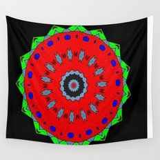 Lovely Healing Mandala  in Brilliant Colors: Black, Maroon, Green, Red, Royal Blue, and Gray Wall Tapestry