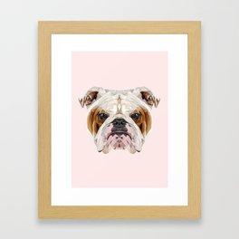 English Bulldog // Pastel Pink Framed Art Print
